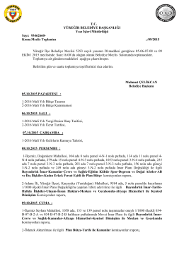 Ekim 2015 Meclis Gündemleri