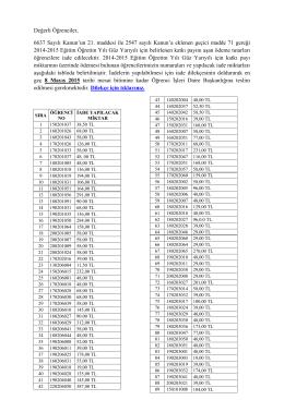 Değerli Öğrenciler, 6637 Sayılı Kanun`un 21. maddesi ile 2547 sayılı