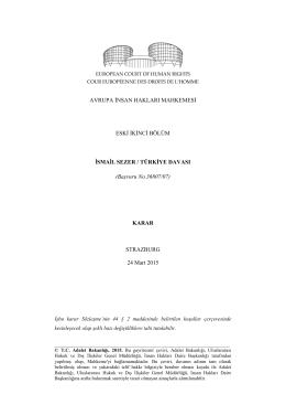 AİHM, 24 Mart 2015 tarihli İsmail Sezer / Türkiye