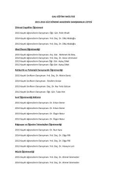 GAU EĞİTİM FAKÜLTESİ 2015-2016 GÜZ DÖNEMİ AKADEMİK