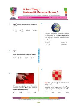 teog 1 matematik deneme sınavı 3y