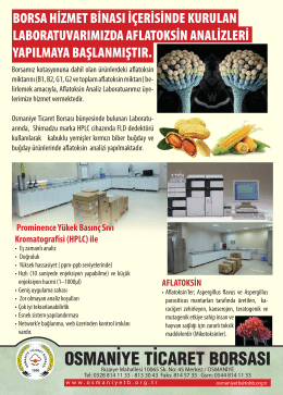 Prom nence Yükek Basınç Sıvı Kromatograf s (HPLC) le AFLATOKSİN