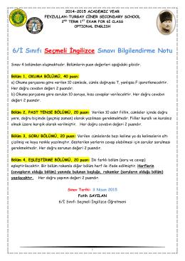 6/İ Sınıfı Seçmeli İngilizce Sınavı Bilgilendirme Notu