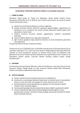 Kurumsal Yönetim Komitesi Görev ve Çalışma