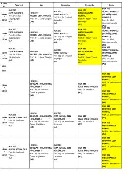 3.SINIF A3 Pazartesi Salı Çarşamba Perşembe Cuma 09:00 / 09:50