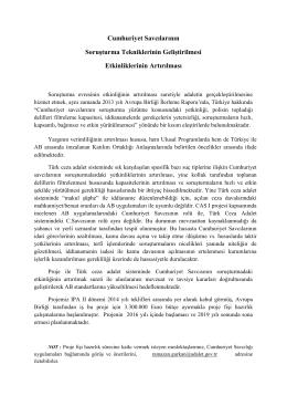 Cumhuriyet Savcılarının Soruşturma Tekniklerinin Geliştirilmesi
