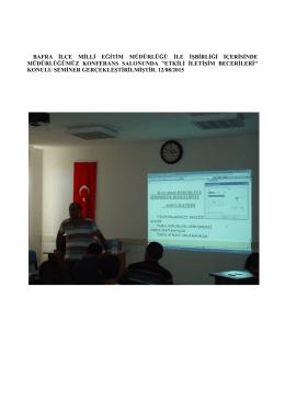 Bafra Denetimli Serbestlik Müdürlüğü Milli Eğitim Seminer