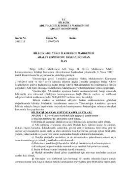 Bilecik Adliyesi 2015 Yılı Hukuk Mahkemeleri Bilir Kişi İlanı. 06/10