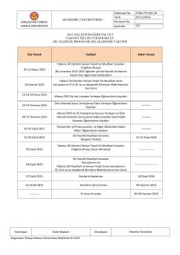 2015-2016 Hazırlık Sınıfları Akademik Takvimi