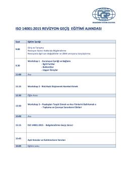ISO 14001:2015 REVİZYON GEÇİŞ EĞİTİMİ AJANDASI