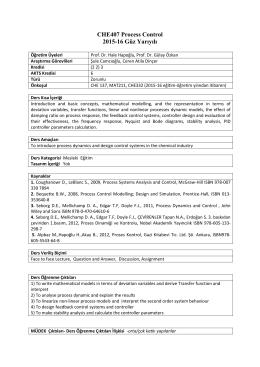 Process Control - Kimya Mühendisliği Bölümü