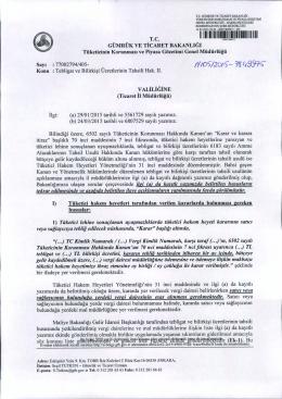 77002794/405- VALİLİGİNE ilgi - T.C. Gümrük ve Ticaret Bakanlığı