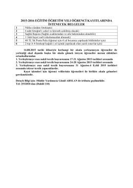 2015-2016 eğitim öğretim yılı öğrenci kayıtlarında istenecek belgeler
