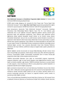 Eğitim Semineri Toplantı Notu - Türkiye Süt, Et, Gıda Sanayicileri ve