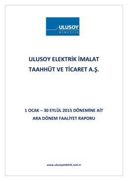 ULUSE 30092015 Faaliyet Raporu