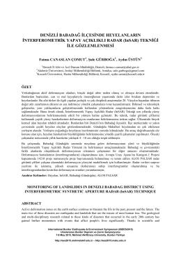 Denizli Babadağ İlçesinde Heyelanların İnterferometrik Yapay