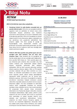 PETKM 31.08.2015 - Bizim Menkul Değerler