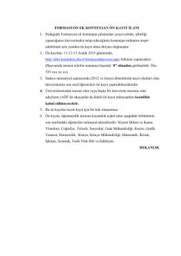 ek kontenjan ön kayıt ilanı