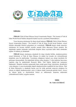 Editörden TİDSAD (Türk & İslam Dünyası Sosyal Araştırmalar