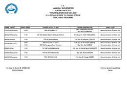 2014-2015 Akademik Yılı Bahar Dönemi Final