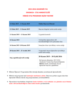 2015-2016 Akademik Yılı Erasmus+ Staj Hareketliliği Hibesiz