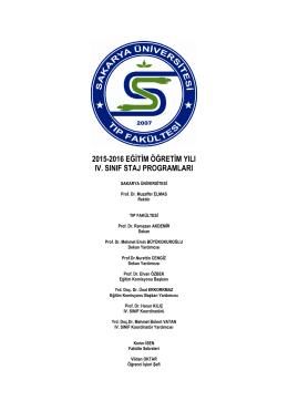 2015-2016 Tıp Fakültesi IV. Sınıf Akademik Program