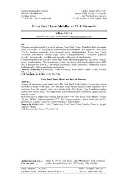 Firma Bazlı Ticaret Modelleri ve Türk Ekonomisi