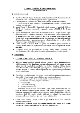 10 kasım atatürkü anma programı 2015