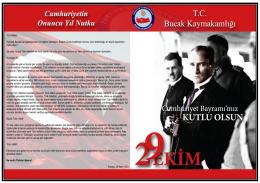 29 Ekim Cumhuriyet Bayramı Kutlama Programı