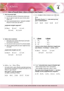 Atom ve Periyodik Sistem -I (Atom ve Kimyanın Temel Yasaları)