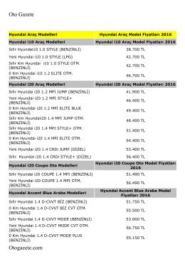 Hyundai Fiyat Listesini 2016 PDF