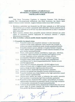 teknik şartname - Celal Bayar Üniversitesi