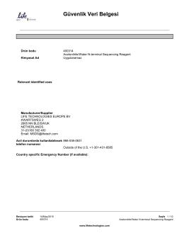 Güvenlik Veri Belgesi - Thermo Fisher Scientific