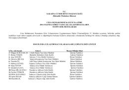 2016 yılı uzlaştırmacı listesi - Sakarya Adliyesi