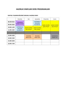 hazırlık sınıfları ders programları