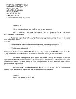 Prof.Dr. Agop KOTOGYAN`ın Mektubu