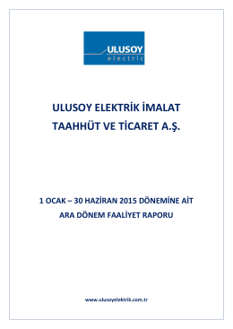 ULUSE 30062015 Faaliyet Raporu