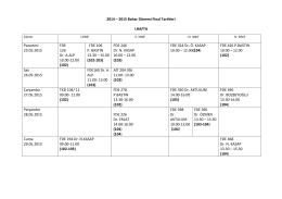 2014 - 2015 Bahar Dönemi Final Sınavı Tarihleri