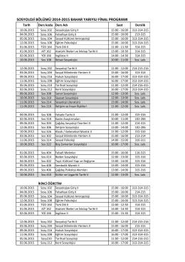 sosyoloji bölümü 2014-2015 bahar yarıyılı final programı