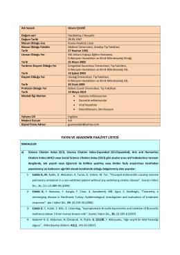 yayın ve akademik faaliyet listesi