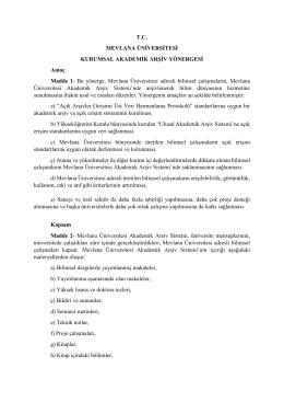 Mevlana Üniversitesi Kurumsal Akademik Arşiv Yönergesi