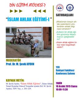 """DİN EĞİTİMİ ATÖLYESİ-7 """"İSLAM AHLAK"""