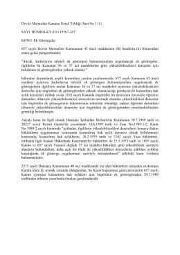 Devlet Memurları Kanunu Genel Tebliği (Seri No 111) SAYI: BÜMKO