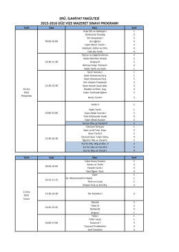 2015-2016 Güz Vize Mazeret Sınav Programı