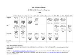 Aile ve Tüketici Bilimleri 2015-2016 Güz Dönemi Ders Programı I