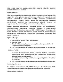 ISO 17020 MUAYENE KURULUŞLARI İÇİN KALİTE YÖNETİM