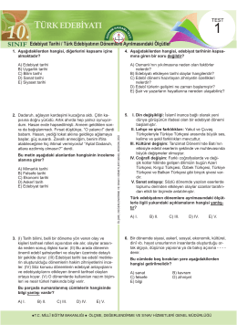 Türk Edebiyatı Testleri 12 Test