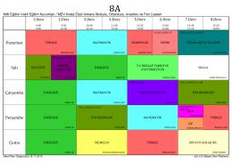2015-2016 8.sınıflar ders programı