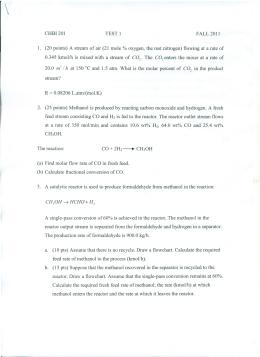 CHBI201 TEST 1 FALL 2011 ı. (20 points) A stream of air (21 mole