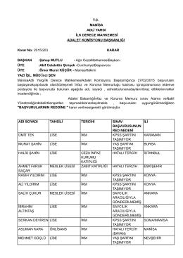 T.C. MANİSA ADLİ YARGI İLK DERECE MAHKEMESİ ADALET